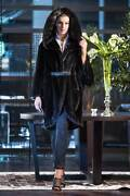 Brand New Exclusive Real Mink Cape With Big Hood In Blackglama Blue Irisgrey