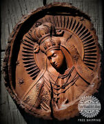 Hand Made Wood Carved Picture Blessed Virgin Mary.