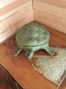 New Metal Cast Iron Rusted Vintage Design Green Turquoise Turtle Statue Garden