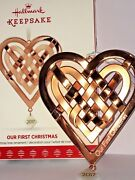 Hallmark Keepsake 2017 Our First Christmas Together Heart Rose Gold Ornament New