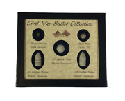 Original Civil War Bullets Relics In Matted Display Case 5 Piece With Coa