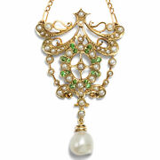 Um 1895 Antique Necklace From Demantoid Grenades And Orient Pearls, Natural Beads