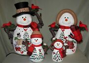 Large 16 Ceramic Hand Painted Lighted 4 Pc Christmas Snowman Family Decoration