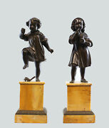 19th Century Bronze Pair Of Mischievous Boy And Girl On Stone Base