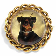 Victorian Um 1870 Antique Essex Crystal As Brooch And Pendant In Gold Dog