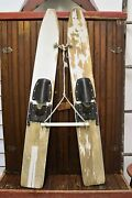 Vintage Wooden Water Skis 45 Long Tow Rope And Wooden Handle Great For Display