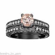 Morganite And Diamond Engagement And Wedding Ring Sets Vintage Style 14k Black Gold