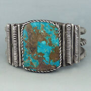 Astonishing Navajo Wire Work Constructed Bracelet W Gorgeous Natural Turquoise