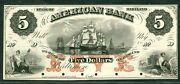 Maryland Andndash American Bank Baltimore 1860andrsquos 5.00 Ships In Harbor Proof On Card