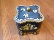 Antique German Large Cough Drop Tin Black Container Measures 4 Tall