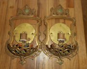 Antique Vintage Gill Glass And Fixture Co Art Deco Wall Light Slip Shade Sconces