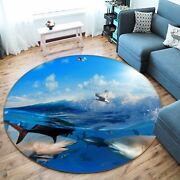 3d Shark Seagull Waves 7 Non Slip Rug Mat Room Mat Round Elegant Photo Carpet Ca