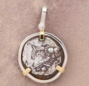 Ancient Greece Athens Owl Tetradrachm 393-300 B.c. In Silver And 14kt Gold Pendant