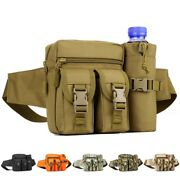 Tactical Fanny Pack Pouch+water Bottle Pocket Holder Waterproof Molle Waist Pack