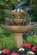 48 Tranquility Spill Fountain With Birds - Outdoor Concrete Garden Water