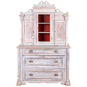 Antique Swedish Country Cabinet With Distressed Painted Shabby Chic Finish 72653