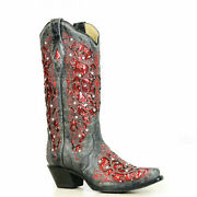 Corral Ladies Black-red Glitter Inlay And Crystal Boots A3534