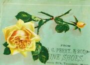 H.c Perry And Son Fine Shoes, Yellow Rose Image Victorian Trade Card C2