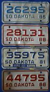 Five Vintage 1980and039s South Dakota Motorcycle License Plates