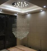 2 Colors Led Crystal Ceiling Fixtures Lighting Round Base Stairs Pendant Lamp