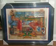 Ernie Banks Autographed Framed Wrigley Field Poster