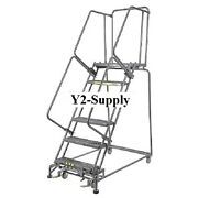 New Grip 24w 6 Step Steel Rolling Ladder 14d Top Step- Lock Type A