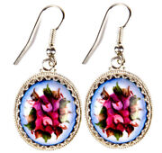 Round Finift Earrings Enamel Hand Made In Russia Pink Flowers Blue. Gift Box