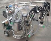 Oil Free Vacuum Pump Milker For Cows + Goats Double Tank Brand New Zb
