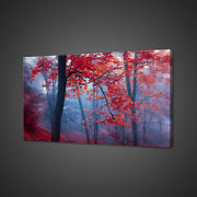 Blue Mist In Red Forest Purple Sky Canvas Picture Print Wall Art Home Decor