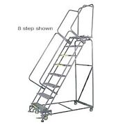 New 7 Step 24wx58d Stainless Steel Rolling Safety Ladder - Perforated Tread