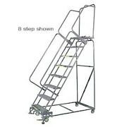 New 6 Step 24wx59d Stainless Steel Rolling Safety Ladder - Perforated Tread