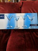 Mikasa Cheers Etched Retro Crystal Martini Glasses Bubbles And Stripes