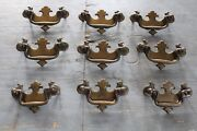 Set Of 9 Antique Chippendale Drawer Pull Hardware Federal Colonial Style Dresser