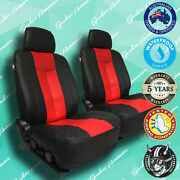 Mitsubishi Verada Red/black Leather Car Front Seat Covers Vinyl All Over Seat