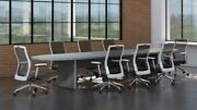 Amber 10and039 Racetrack Office Conference Table - Valley Grey