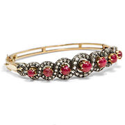 Love Knot Vintage Diamond And Ruby Bracelet In Gold And Silver 1970er Years