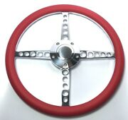 14 Polished Billet 5 Hole Steering Wheel Red Half Wrap And Horn Button