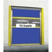 New Spring-loaded Roll-up Dock Door Blue Vinyl Panels And Vision Panel 8 X 10