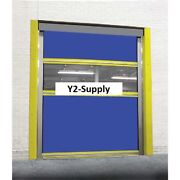 New Motorized Roll-up Dock Door Blue Vinyl Panels And Vision Panel 12 X 12