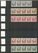 Sweden 282/664 284-37 Complete Set Three Crowns Strips Of 5, Semi Complete Nh
