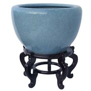 Light Celadon Planter In Japanese Style Porcelain Container 20 Dia