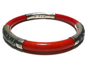 Antique Old Chinese Export China Enamel Sterling Silver Red Bangle Bracelet