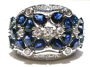 Levian 14k White Gold 2.00ct Blue Sapphire And .50ct Diamond Cocktail Shield Ring
