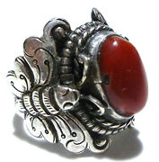 Size 7.5 Antique Chinese Export Oriental Sterling Silver Butterfly Coral Ring