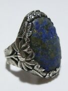 Antique Chinese Oriental Export Silver And Blue Stone Ornate Flower Ring Sz 8.5