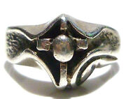 Odd Gothic Style Estate Sterling Silver Religious Cross Biker Ring Size 8.25
