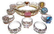 Large Collector Lot 12 Ring S Band S 1 Bracelet Judith Ripka Sterling Silver
