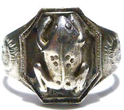 Asian Oriental Chinese Export Sterling Silver Frog Dragon Antique Ring Band