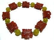 Beaded Yellow Jade Carved Red Jade 14k Gold Bead Chinese Export Bracelet