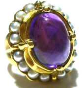 Seidengang Roman Greek Etruscan Style 18k Gold Amethyst And Pearl Womens Ring